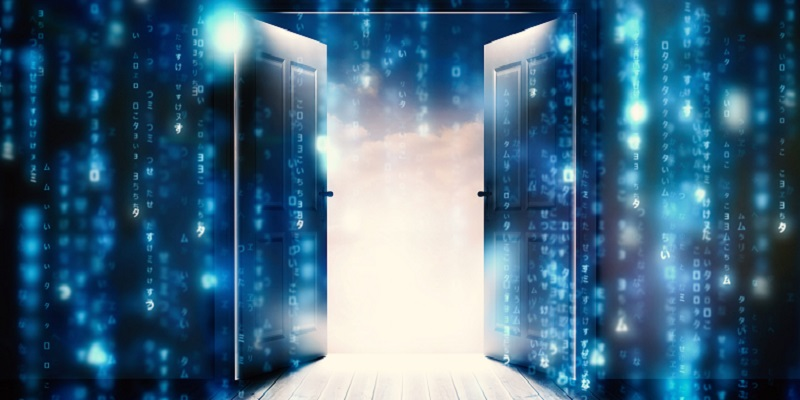 door opening into binary data